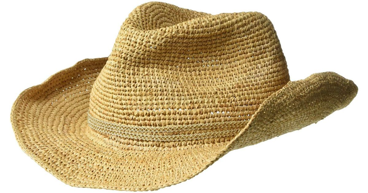 Lyst - Hat Attack Raffia Crochet Cowgirl With Sparkle Trim (natural gold)  Caps in Metallic 0bdfc62346c