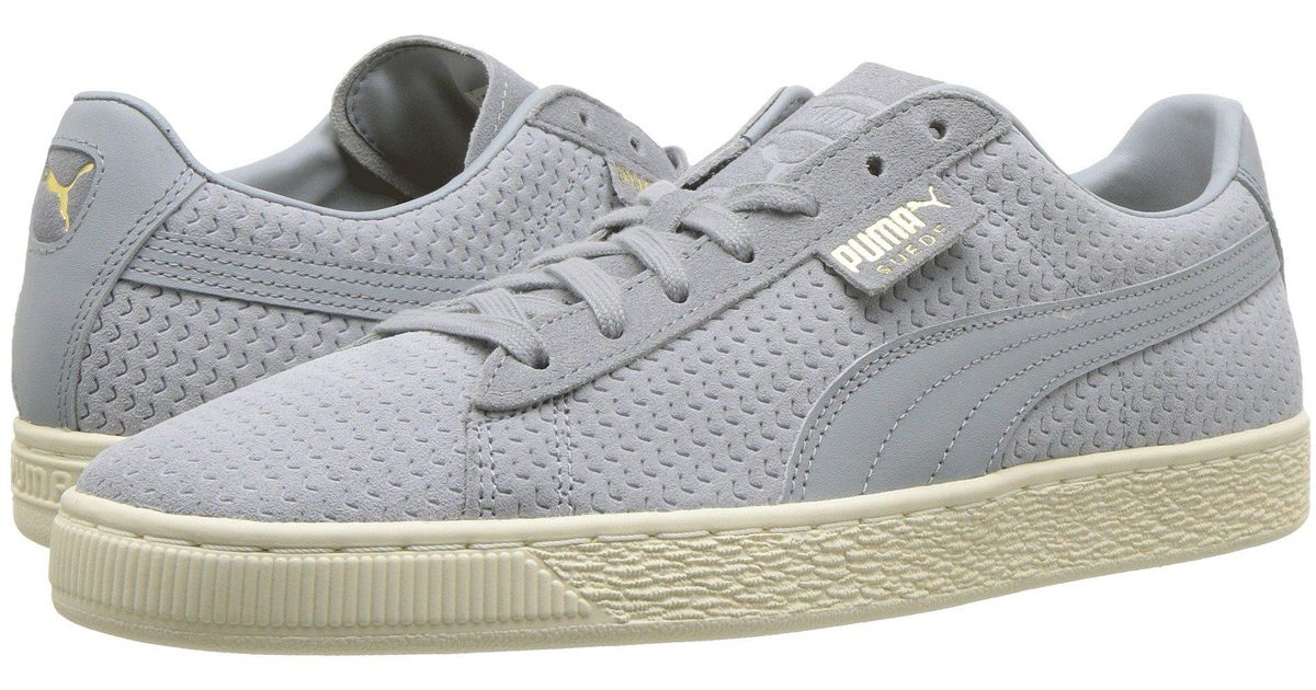 b1730db499d Lyst - PUMA Suede Classic Perforation (quarry whsiper White) Men s Lace Up  Casual Shoes