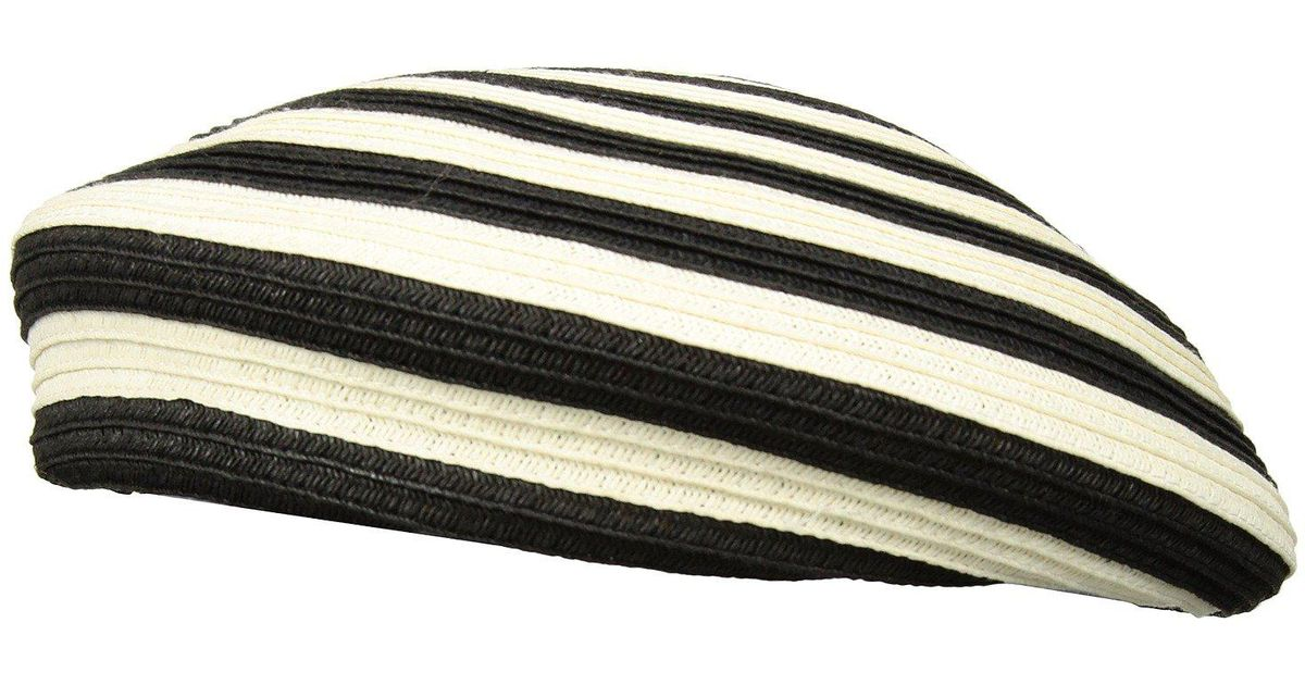 Lyst - Brixton Audrey Straw Beret (black white) Berets in Black e967ee65a2c0