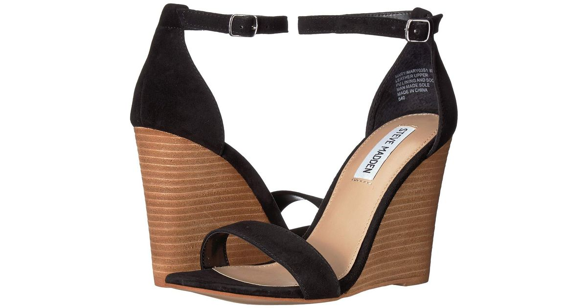 851a50eec44 Lyst - Steve Madden Mary Wedge Sandal (natural Snake) Women s Sandals in  Black - Save 22%