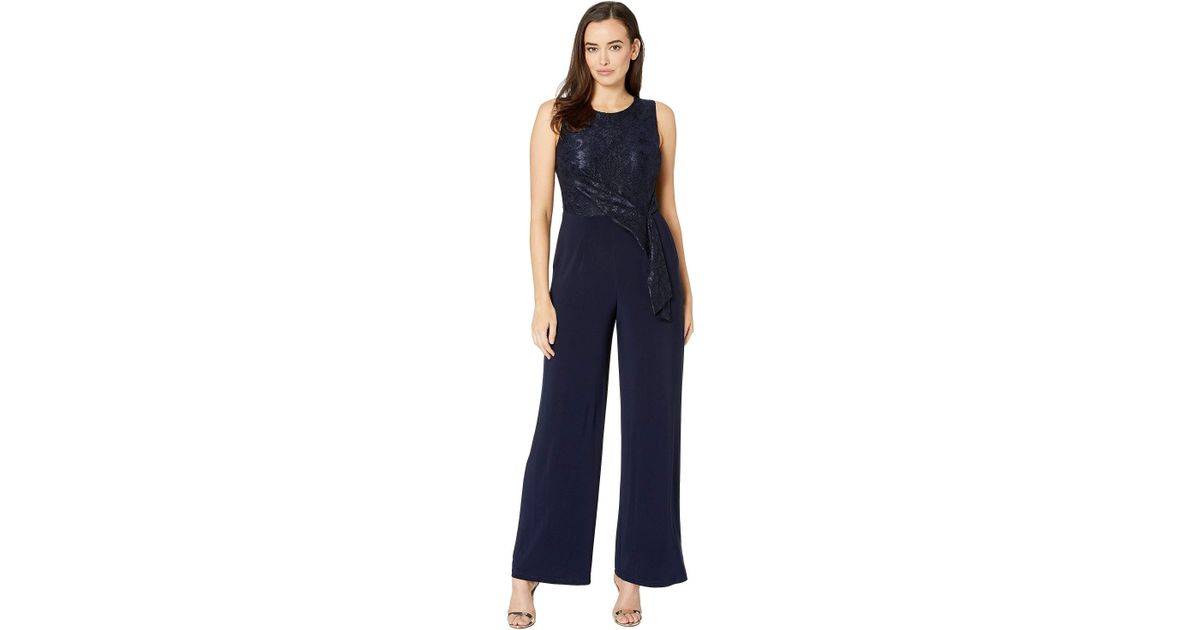 f2783afeb8cb Lyst - Lauren by Ralph Lauren 6r Matte Jersey Toki Jumpsuit (lighthouse Navy)  Women s Jumpsuit   Rompers One Piece in Blue