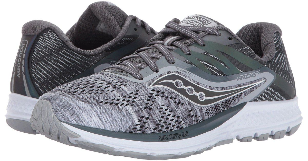 7453a636 Saucony - Gray Ride 10 (black/coral) Women's Running Shoes - Lyst