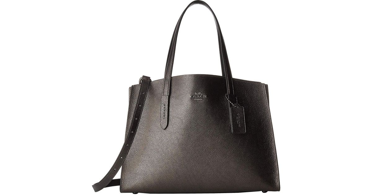 75be858fd COACH Metallic Leather Charlie Carryall (gunmetal/metallic Graphite)  Handbags in Metallic - Lyst