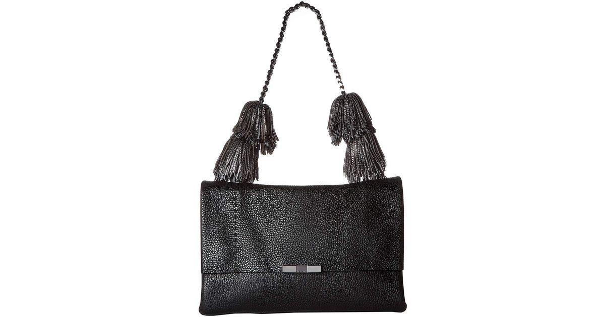 c6fe6d24e8a3a Lyst - Ted Baker Meloddy Leather Pompom Shoulder Bag in Black - Save 30%