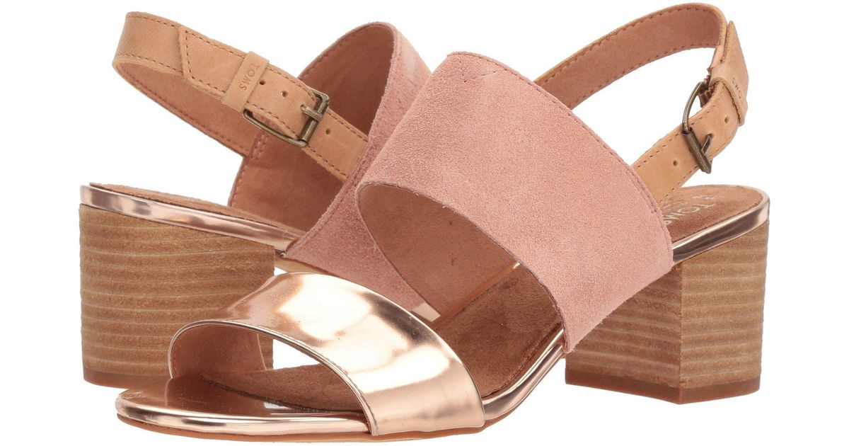 7ae9a897f46 Lyst - TOMS Poppy Suede   Leather Sandal in Pink