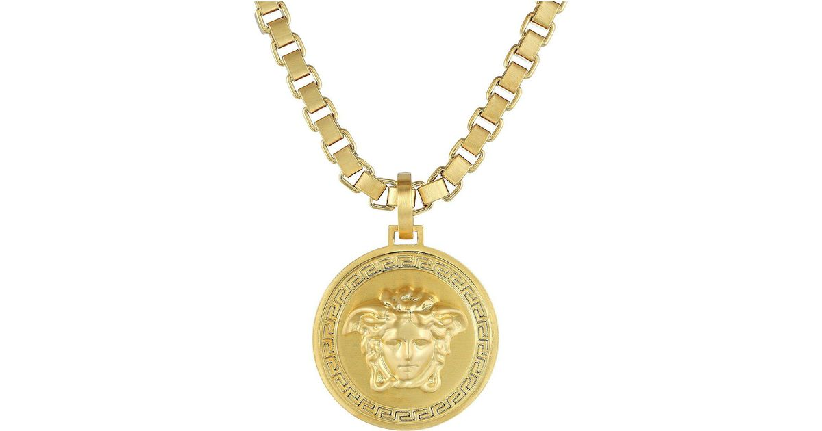 gold necklace versace lyst venetian medallion metallic jewelry chain
