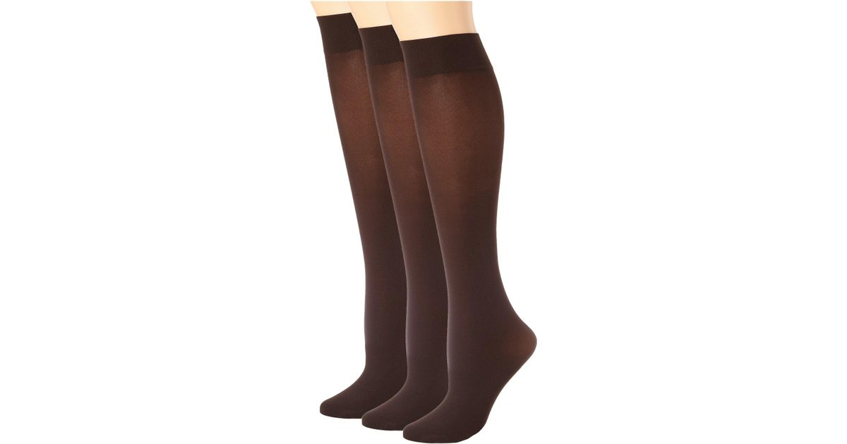 e8165ecf2 Lyst - Hue Soft Opaque Knee High 3-pack (espresso) Women s Knee High Socks  Shoes in Brown