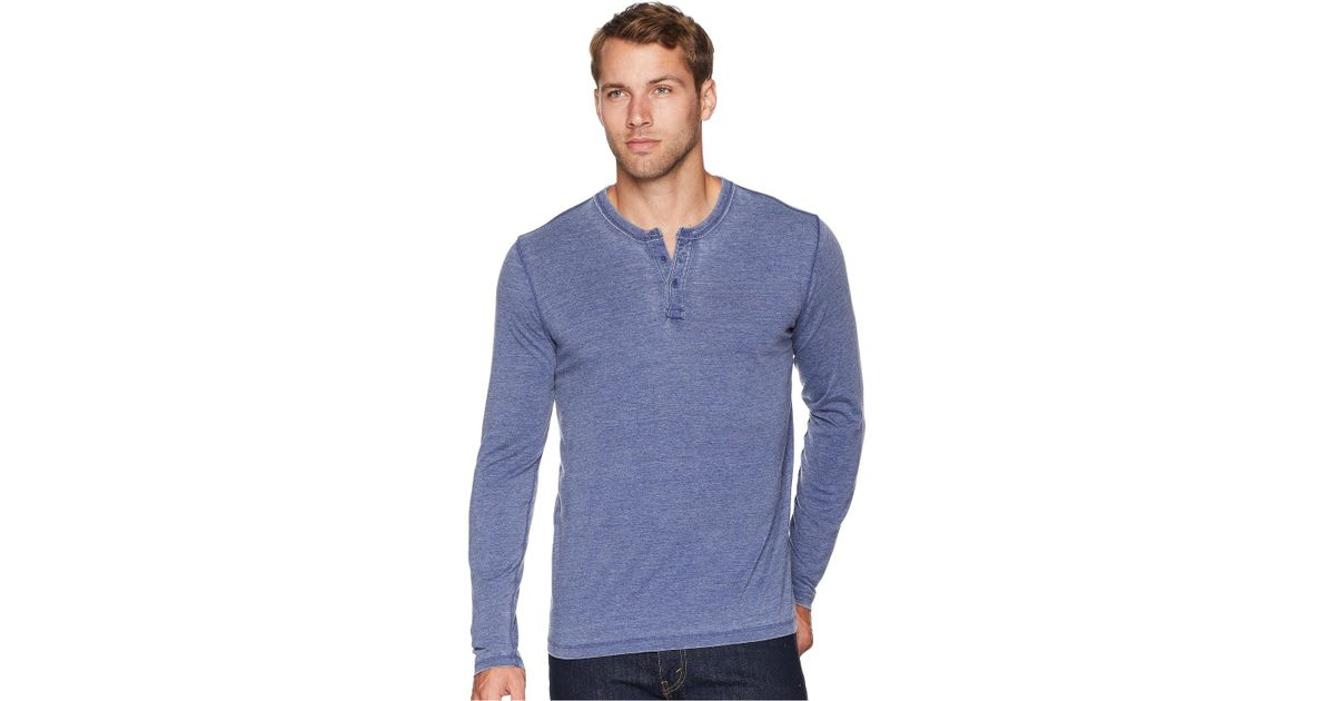 45d98caf Lucky Brand Sueded Burnout Henley Shirt (sycamore) Men's Clothing in Blue  for Men - Lyst