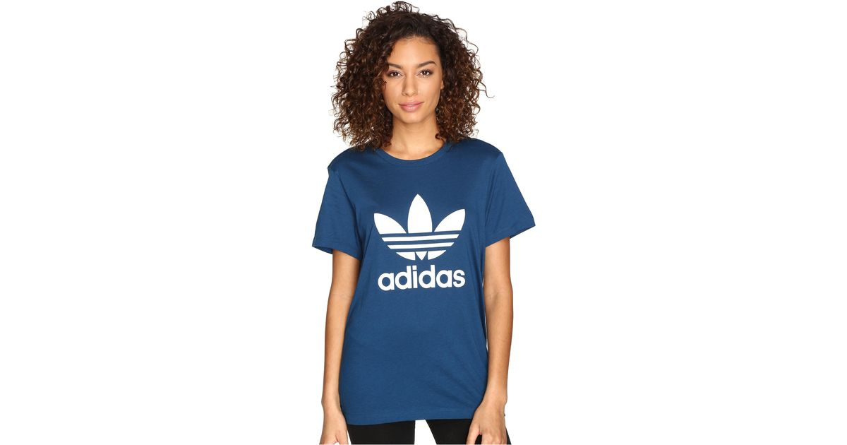 c4459a68 adidas Originals Boyfriend Trefoil Tee in Blue - Lyst