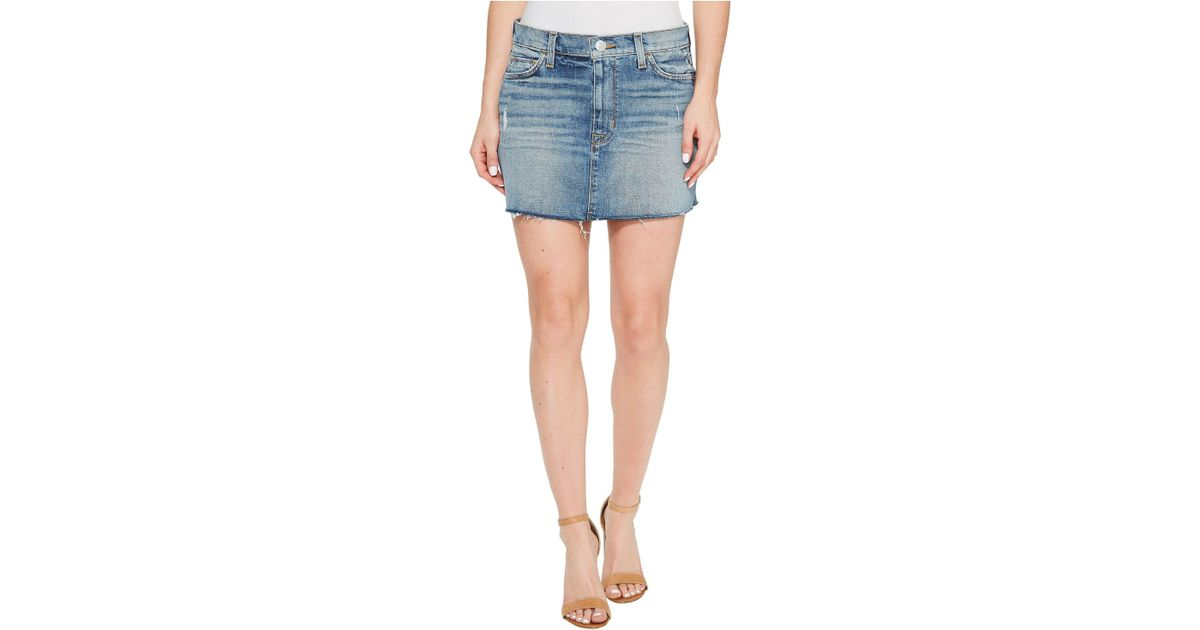 52e319c4d Hudson Jeans Vivid Denim Mini Skirt W/ Raw Hem In Sunday Girl in Blue - Lyst