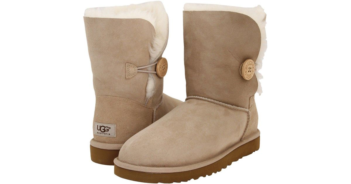 lyst ugg bailey button sand women s boots in natural rh lyst com
