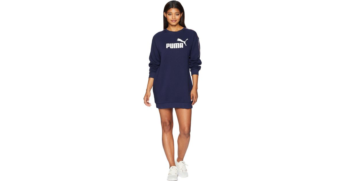 Lyst - PUMA Tape Terry Dress in Blue 6b43919c0e
