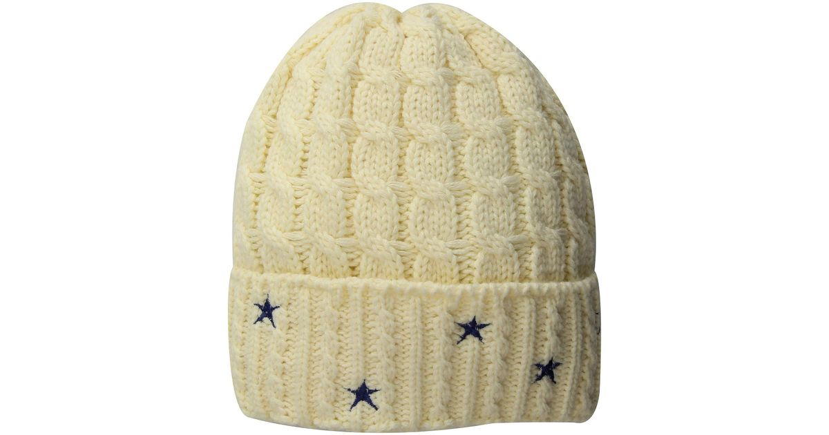 4ec3da650c9 Lyst - San Diego Hat Company Knh3588 Cable Knit Beanie With Star Embroidery  in White - Save 64%