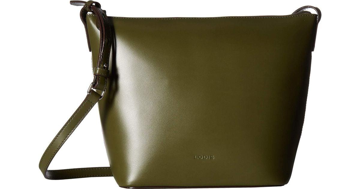 Lyst Lodis Audrey Rfid Camilla Bucket Crossbody Black Cross Body Handbags In Green