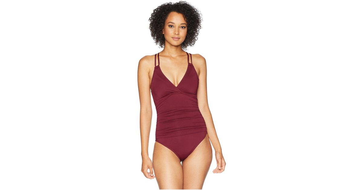 664f1683cc6a7 Lyst - La Blanca Island Goddess Surplice Mio One-piece With Floating  Underwire (flame) Women's Swimsuits One Piece in Red