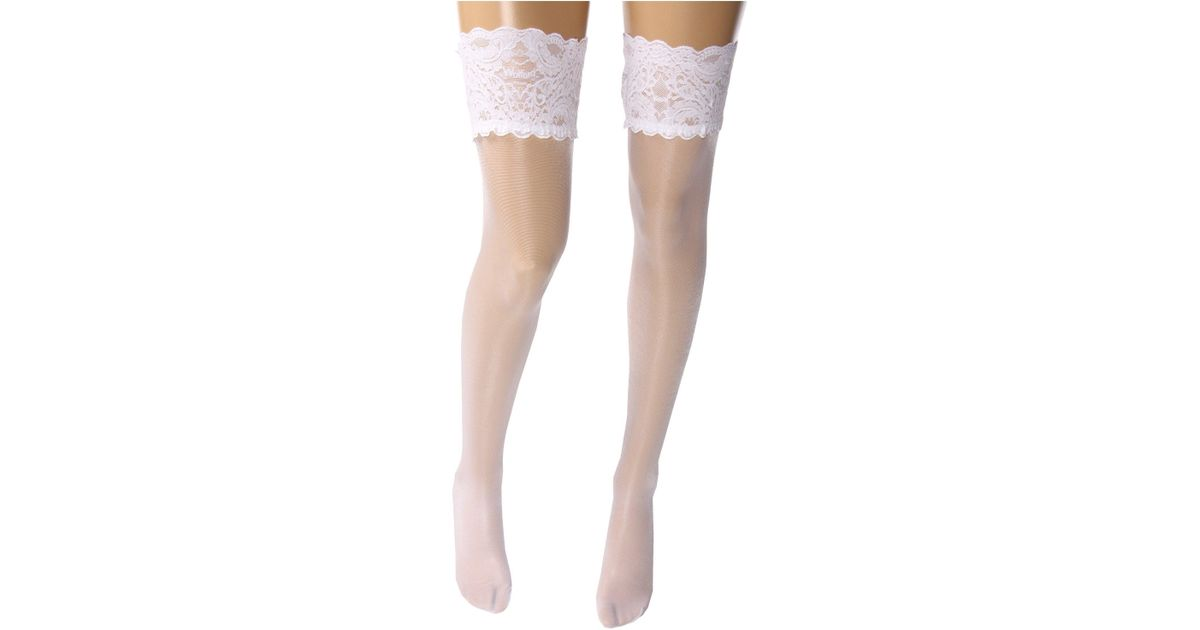 c6c657a94 Wolford Satin Touch 20 Stay-up Thigh Highs (white) Women s Thigh High Socks  Shoes in White - Lyst