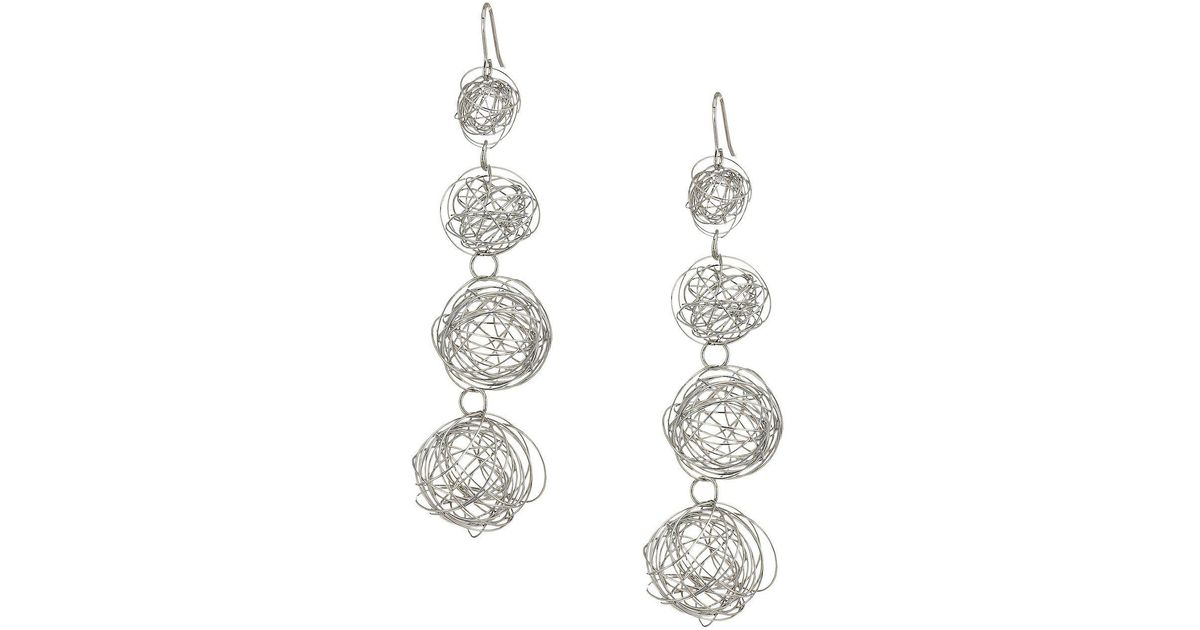 Lyst - Kenneth Jay Lane 4 Row Silver Wire Balls With Fishhook Ear ...
