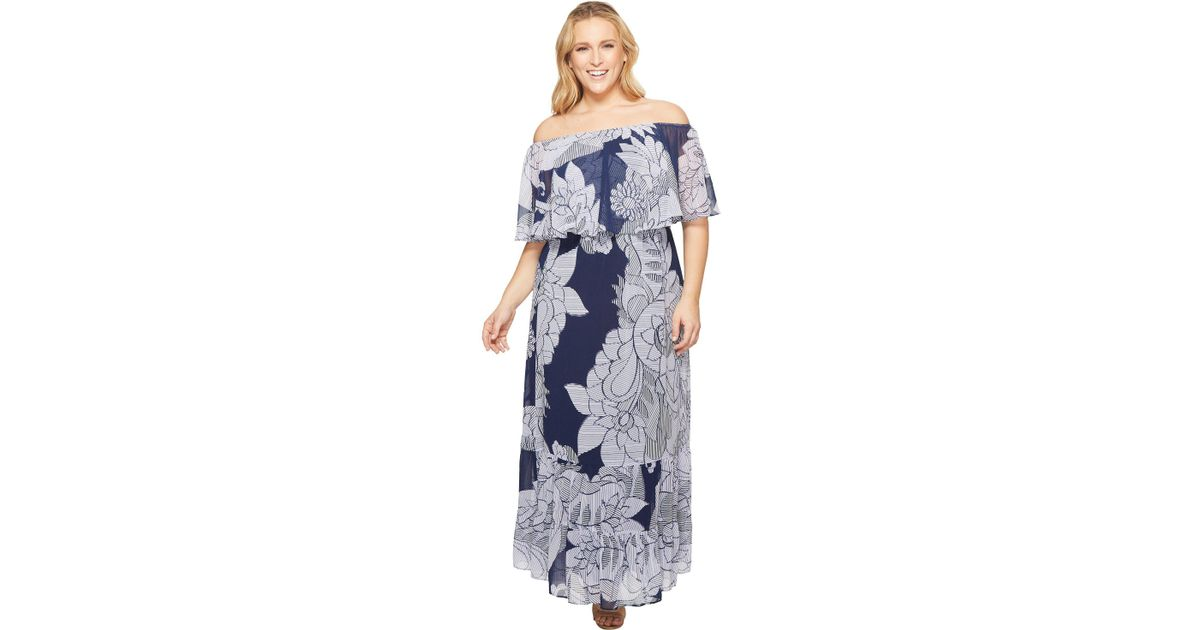 Donna Morgan Plus Size Off The Shoulder Maxi Dress in Blue - Save 38 ...