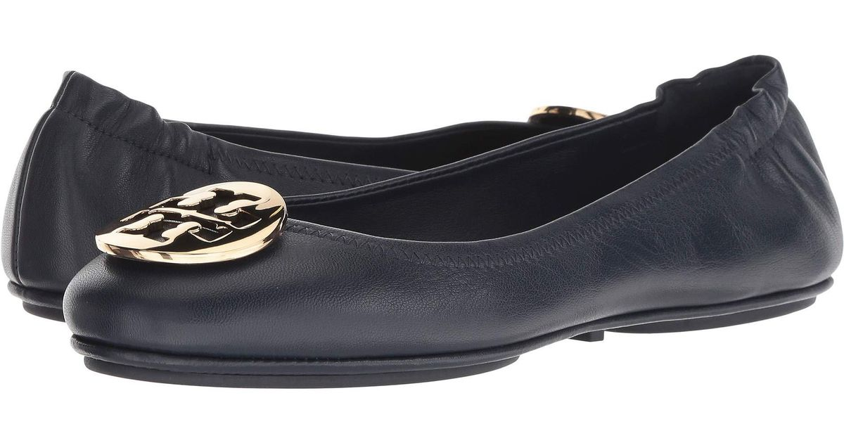 f782bb8ad Lyst - Tory Burch Minnie Travel Ballet Flat (black gold) Women s Shoes in  Blue