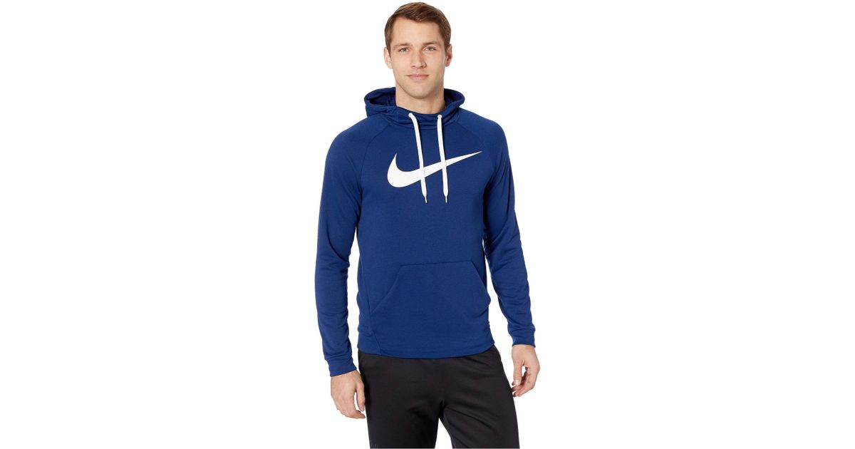 2b85364b6a Nike Swoosh Pullover Dry Training Hoodie (blue Void/white) Sweatshirt in  Blue for Men - Save 11% - Lyst