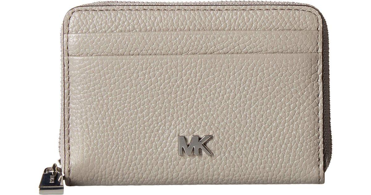 151bd731dcb9 Lyst - MICHAEL Michael Kors Zip Around Coin Card Case (vanilla acorn)  Credit Card Wallet in Gray