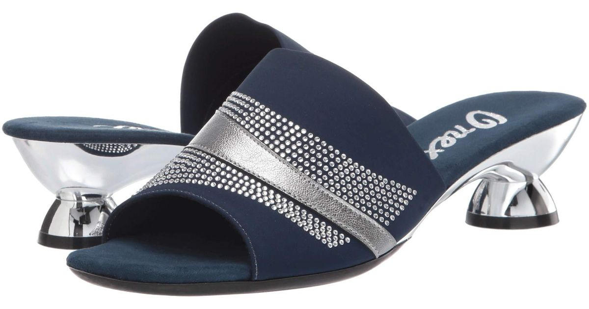 Onex Flora Women/'s Slip On  Sandal Gray /& Navy Fabric Upper