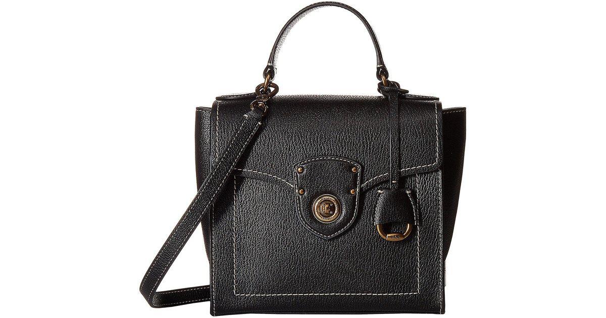 Lyst Lauren By Ralph Millbrook Top Handle Crossbody Satchel Burnt Orange Handbags In Black