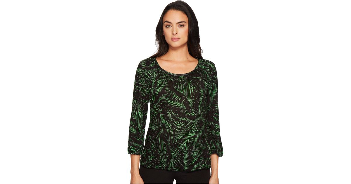 2a2474339fc Lyst - MICHAEL Michael Kors Palm Scoop Neck Peasant Top (bright Palm black)  Women s Clothing in Green