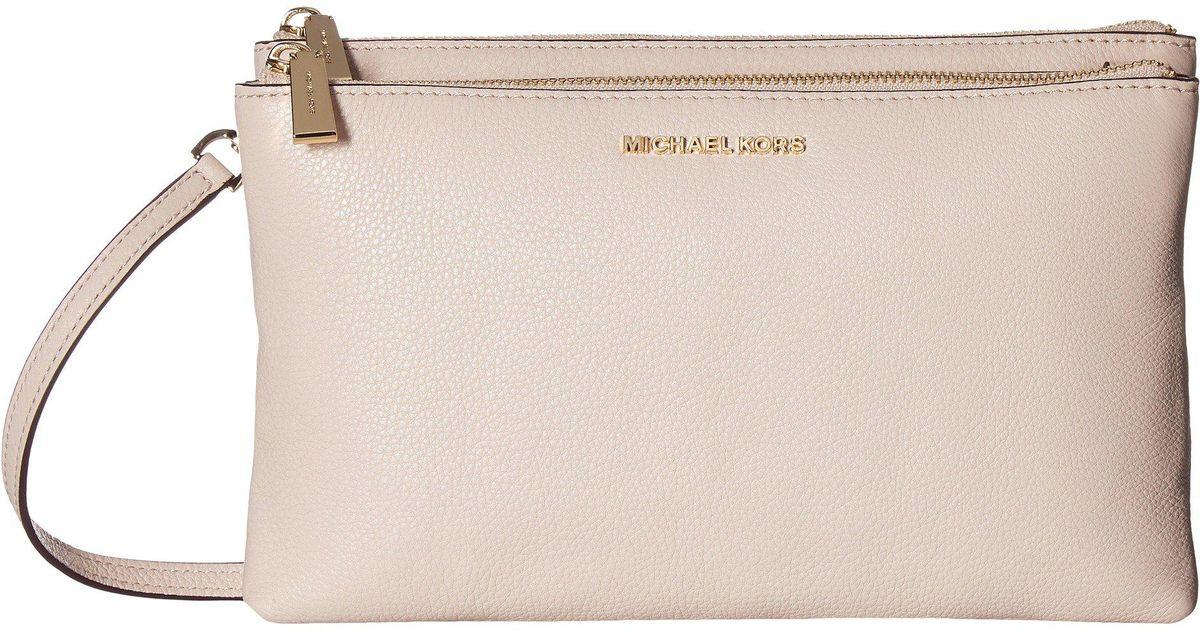 Lyst - MICHAEL Michael Kors Double Zip Crossbody (brown) Cross Body Handbags  in Pink - Save 14% 55d7a28a987f0