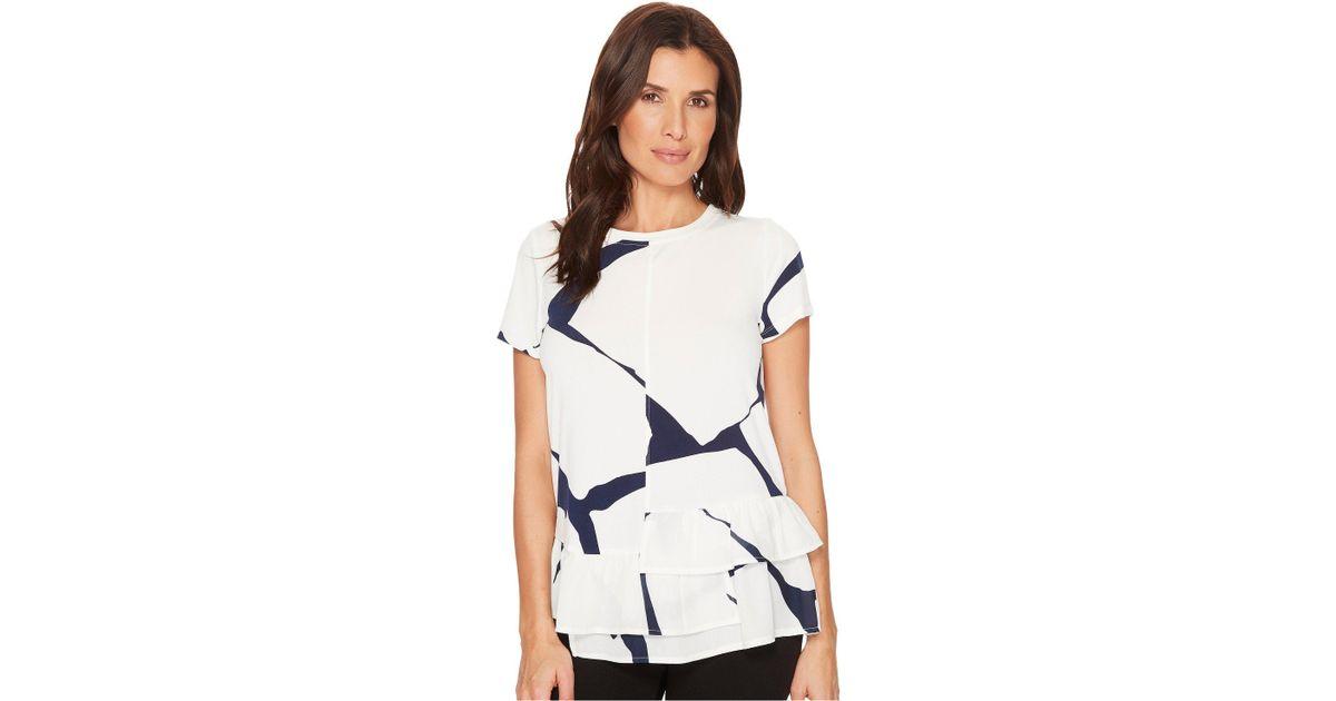 1af0da37ea401 Lyst - Ivanka Trump Cap Sleeve Printed Blouse W  Tiered Ruffle Hem in White