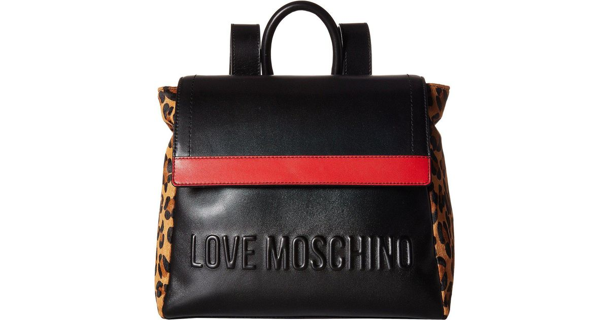 59d31ceb39 Love Moschino Animal Block Backpack (black/red/leopard) Backpack Bags in  Black - Lyst