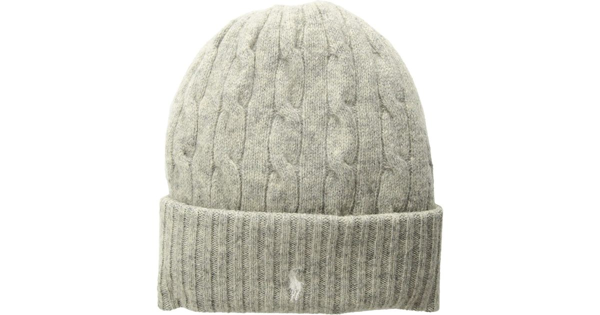 2bc5989989fcb1 Lyst - Polo Ralph Lauren Wool Cashmere Classic Cable Cuff Hat (thistledown  Heather) Beanies in Gray