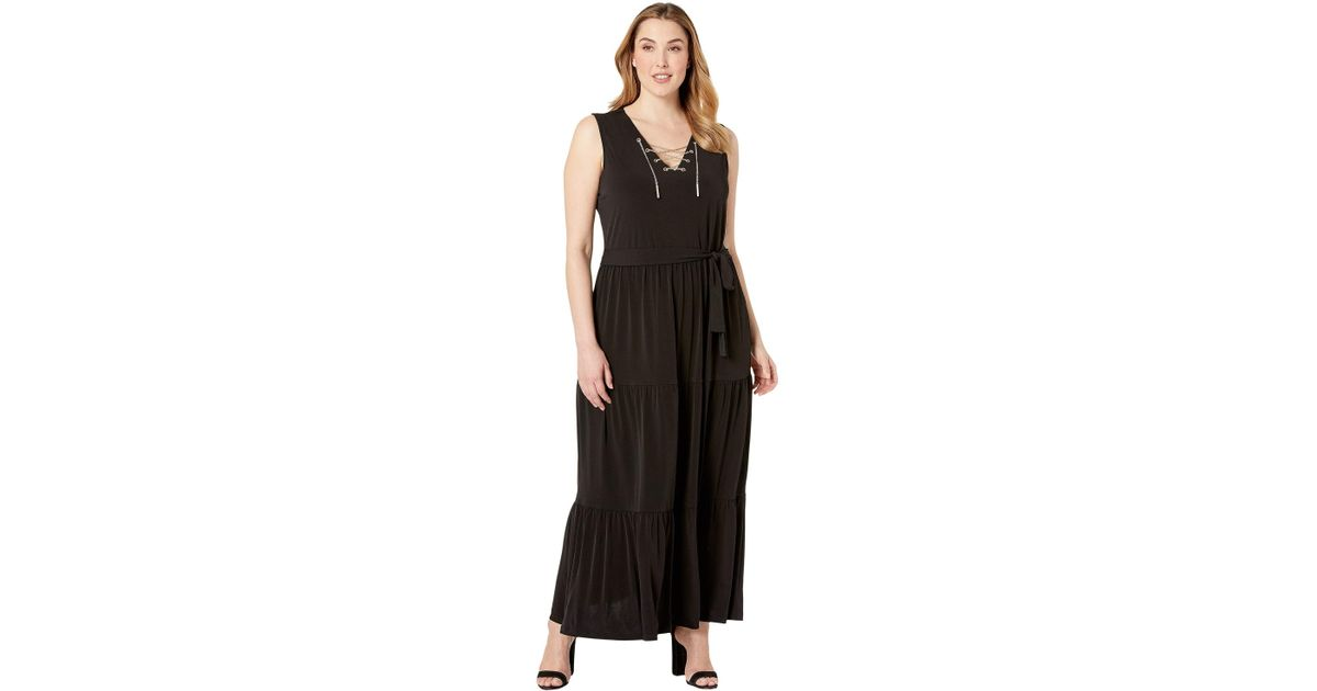 c699a20a379 Lyst - MICHAEL Michael Kors Plus Size Chain Lace-up Maxi Dress (true Navy)  Women s Dress in Black