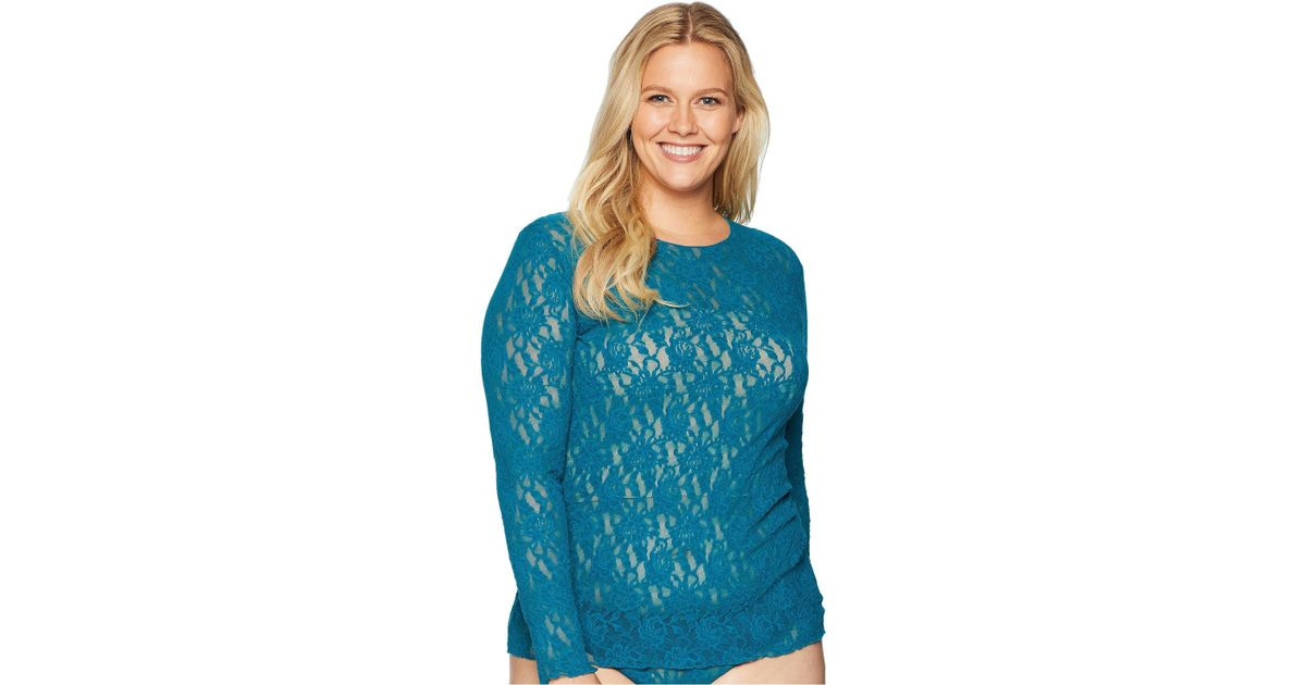 7bbc423e3dc Lyst - Hanky Panky Plus Size Signature Lace Unlined Long Sleeve Top in Blue  - Save 43%