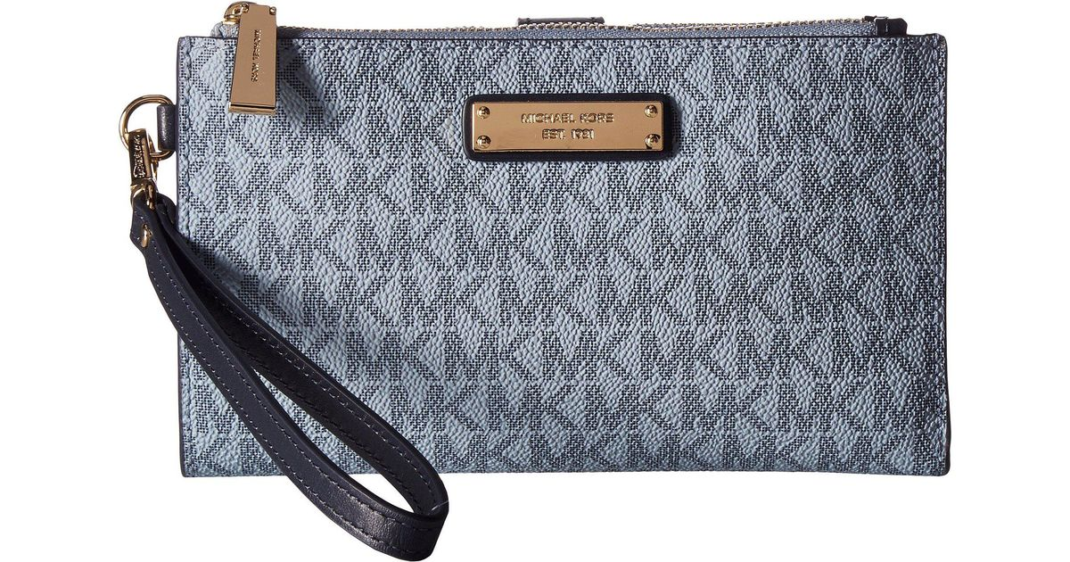 82b1df908e8f Lyst - MICHAEL Michael Kors Double Zip Wristlet (luxe Teal) Wristlet  Handbags in Blue