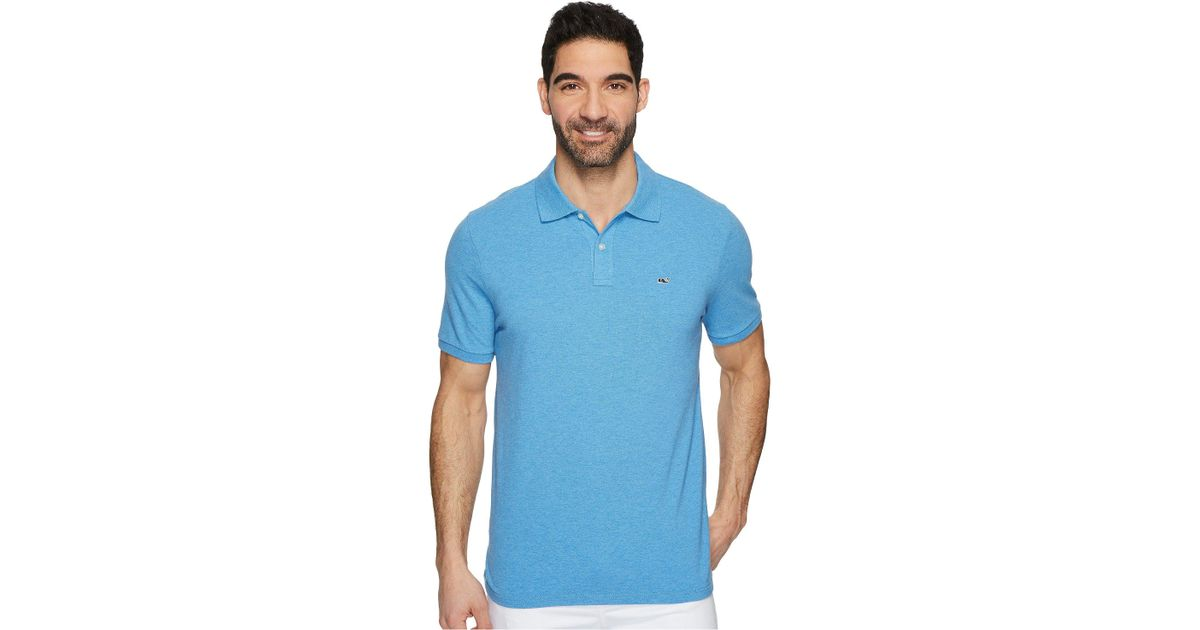 Lyst - Vineyard Vines Stretch Pique Heather Polo in Blue for Men 655a20035