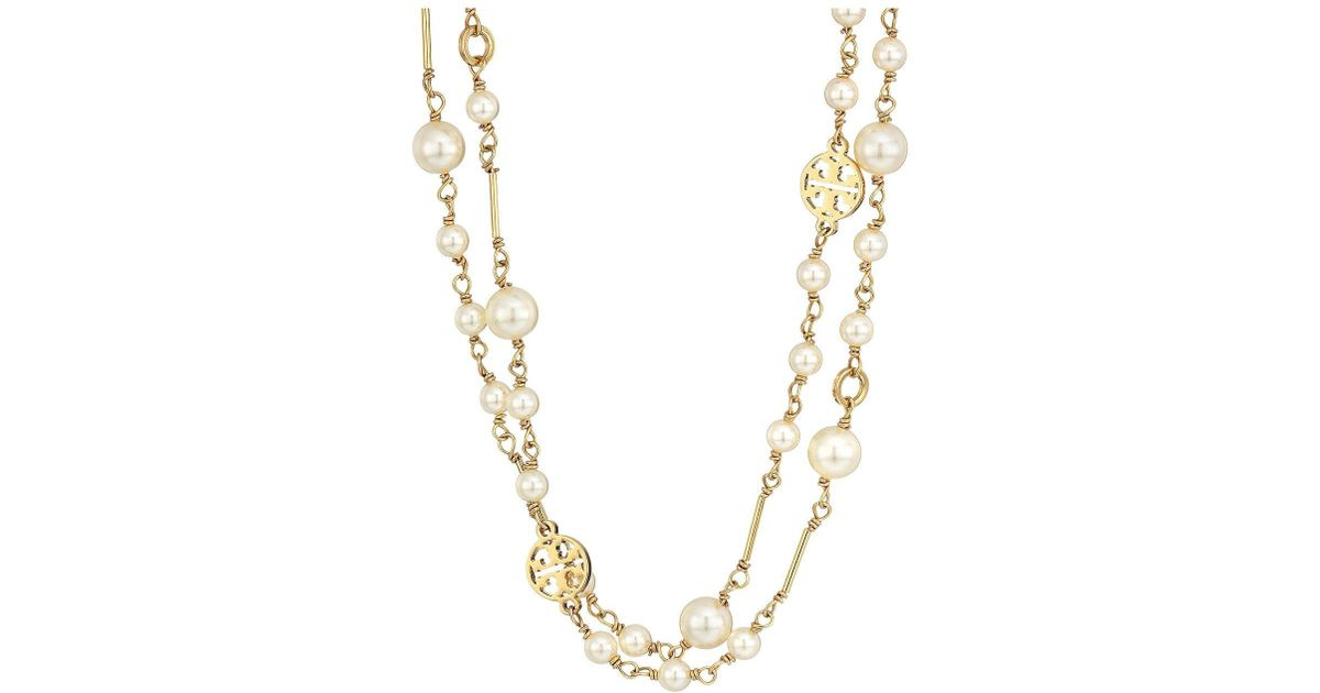 77f39c5c667867 Tory Burch Crystal Pearl Convertible Necklace in Metallic - Lyst