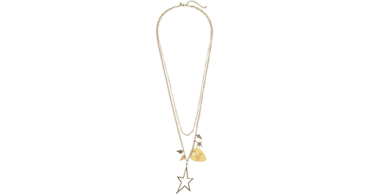 Lyst rebecca minkoff guitar pick charm cluster necklace in metallic aloadofball Image collections
