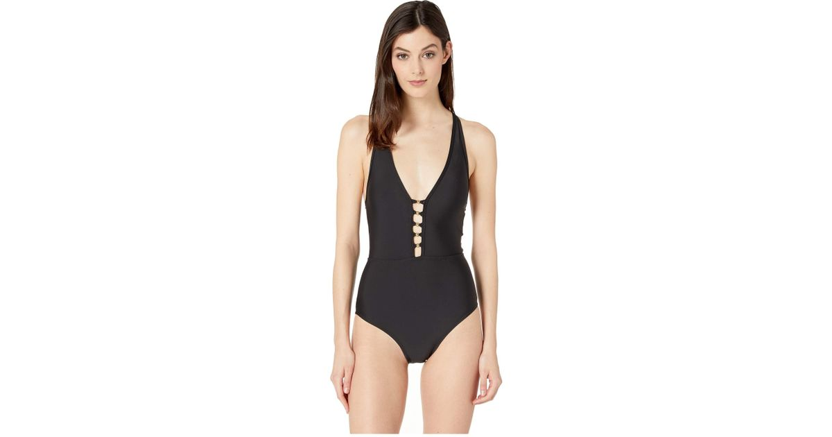 44e441c7a313d Lyst - Athena Solids V-neck One-piece (black) Women s Swimsuits One Piece  in Black