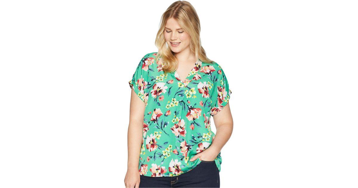 9690d88be4 Lauren by Ralph Lauren - Green Plus Size Floral-print Crepe V-neck Top -  Lyst