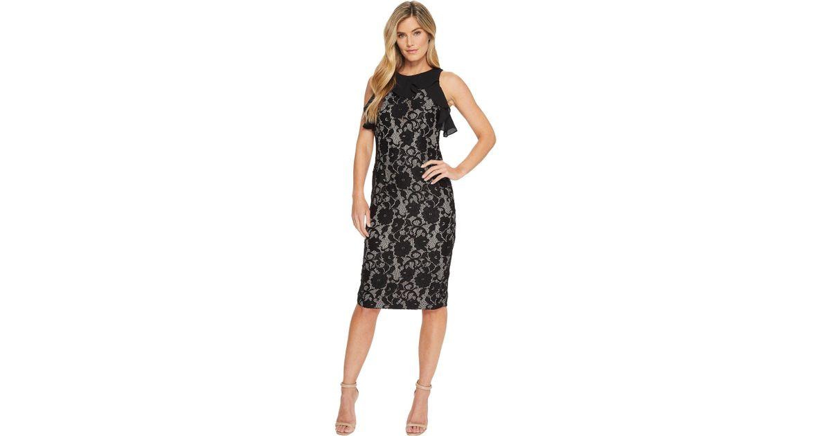 bc4a944b Ivanka Trump Sleeveless Lace Midi W/ Georgette Ruffle (black) Dress in  Black - Save 32% - Lyst