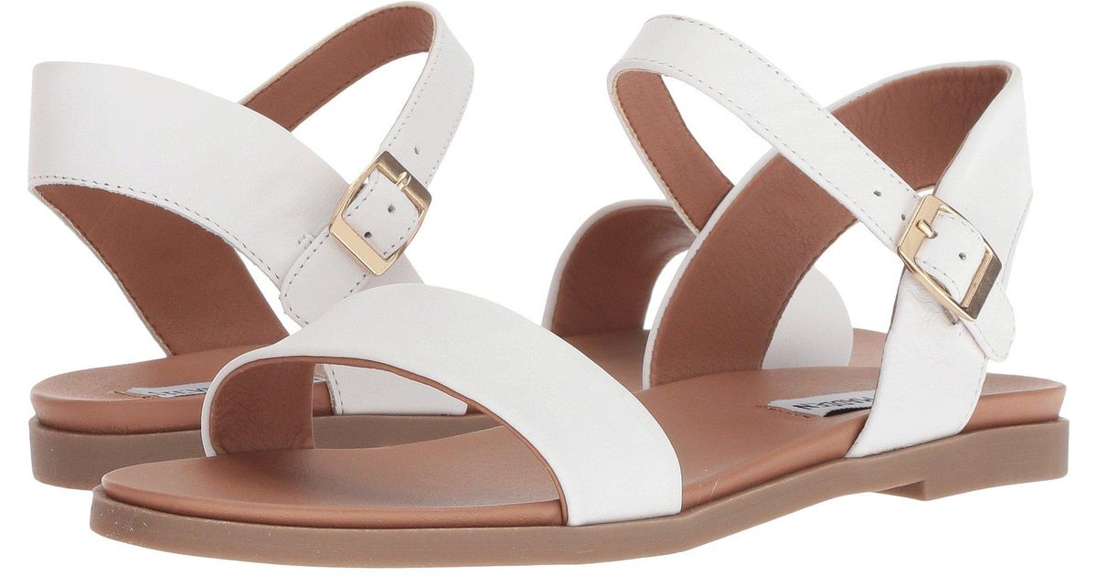 9cd4a6e8a95 Lyst - Steve Madden Dina Sandal (black Leather) Women s Sandals in White