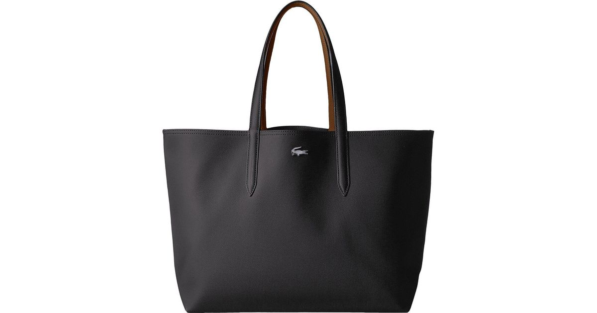 Lyst Lacoste Anna Large Reversible Ping Bag Peacoat Salsa Handbags In Black
