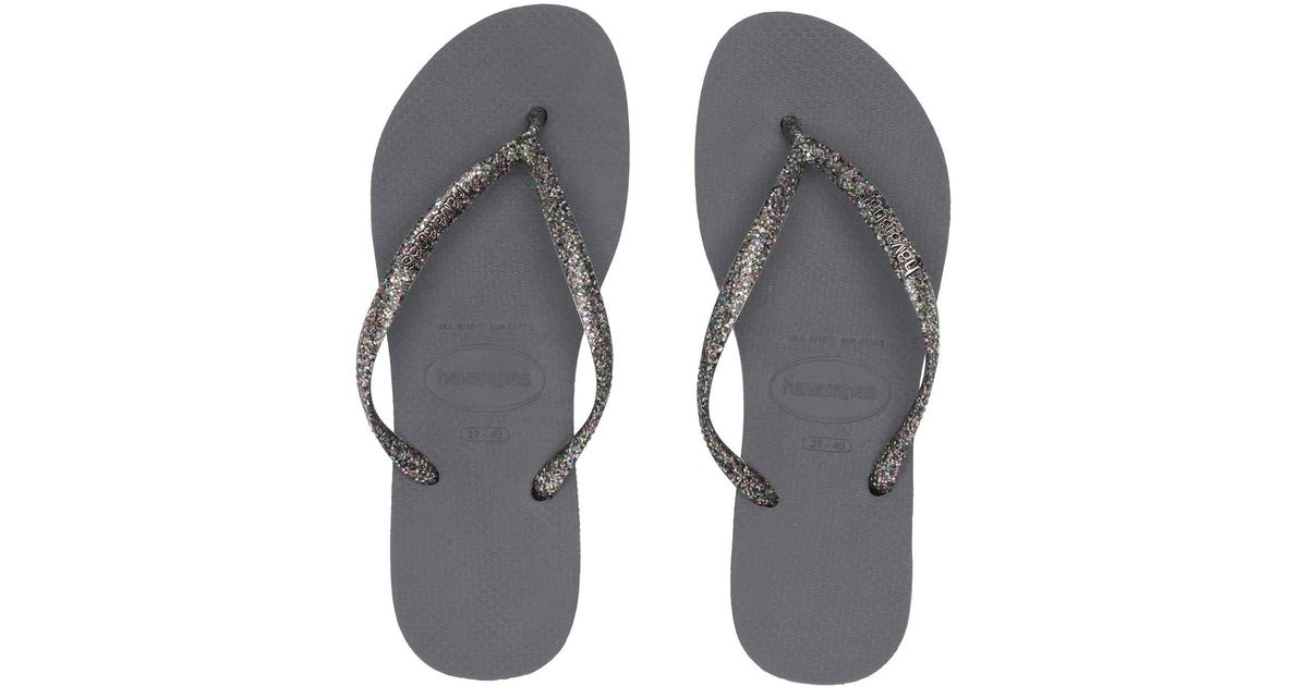 563981209 Lyst - Havaianas Slim Logo Metallic Flip Flops (white silver silver) Women s  Sandals in Gray