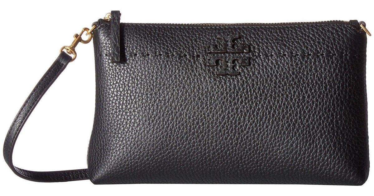 d15e48cede Tory Burch Mcgraw Top Zip Crossbody (black) Cross Body Handbags in Black -  Lyst