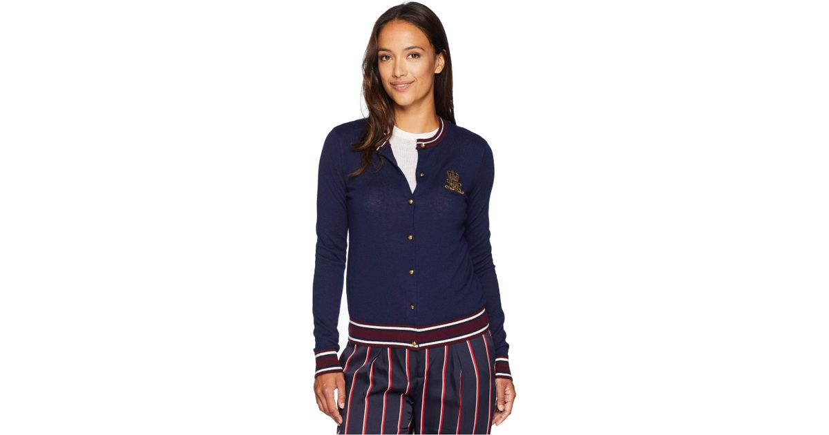 ddd15e3ffb Lyst - Lauren By Ralph Lauren Petite Bullion-patch Cotton Cardigan (navy  multi) Women s Sweater in Blue - Save 33.89830508474576%