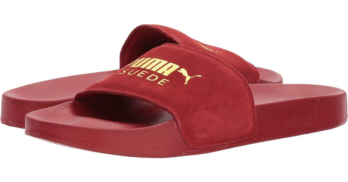 3d394414f571 Lyst - PUMA Leadcat Suede (red Dahlia  Team Gold) Men s Slide Shoes in Red