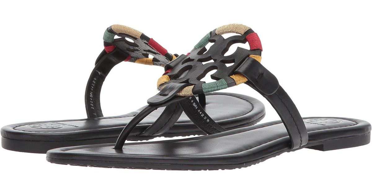 f5ec1ef4bf1 Lyst - Tory Burch Miller Embroidered Sandal in Black