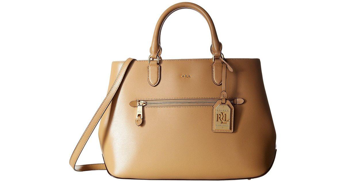 c765b1d6dad0 Lauren by Ralph Lauren Newbury Sabine Satchel (palomino) Satchel Handbags -  Lyst