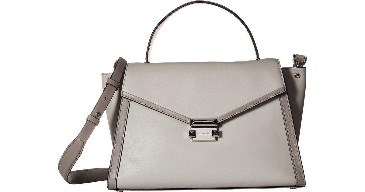 Lyst Michael Kors Whitney Large Top Handle Satchel Aluminum Pearl Grey Handbags In Gray